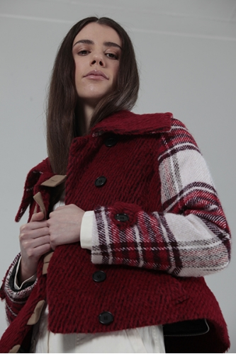 TOGETHER COAT - RED AND RED/WHITE TARTAN