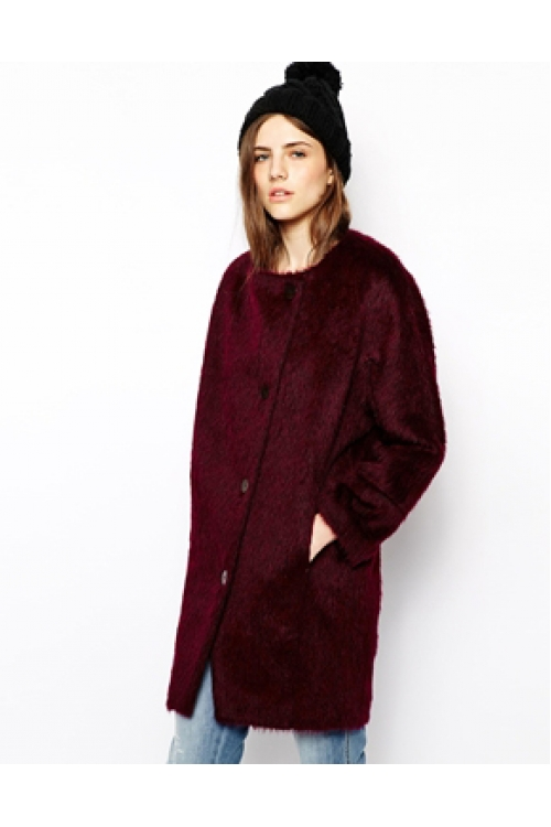 DARK RED COCOON COAT