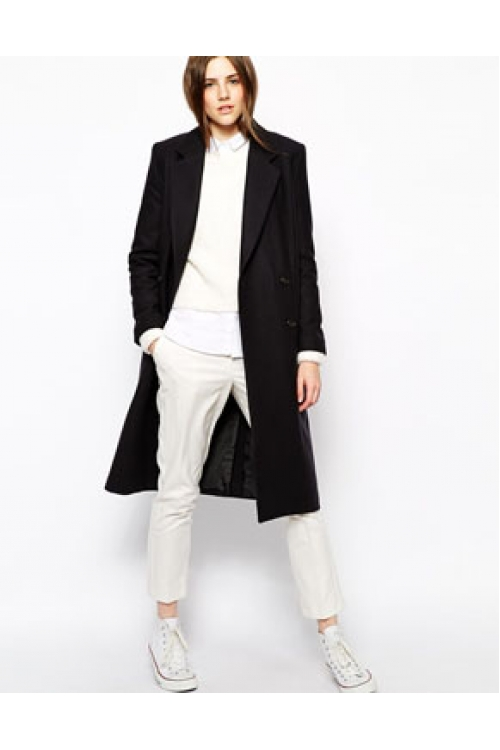 NAVY herringbone HACKNEY COAT