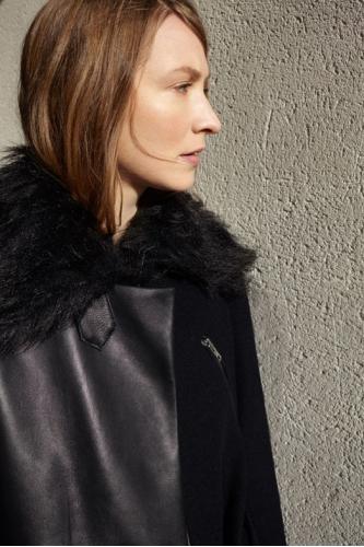 Black & Leather coat