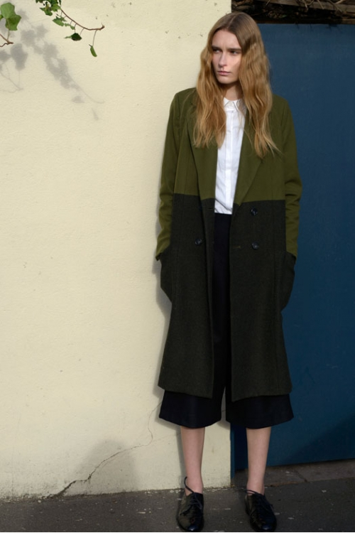 GREEN TWO-TONE HACKNEY COAT