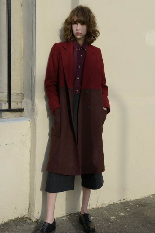 RED TWO-TONE HACKNEY COAT - sold out