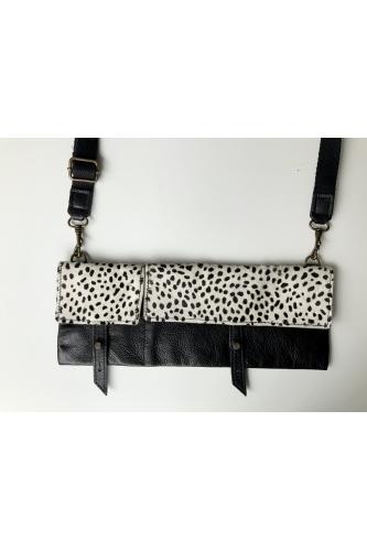 TWIN PACK LOOP BAG IN BLACK WITH LEOPARD PRINT PONYSKIN FLAP
