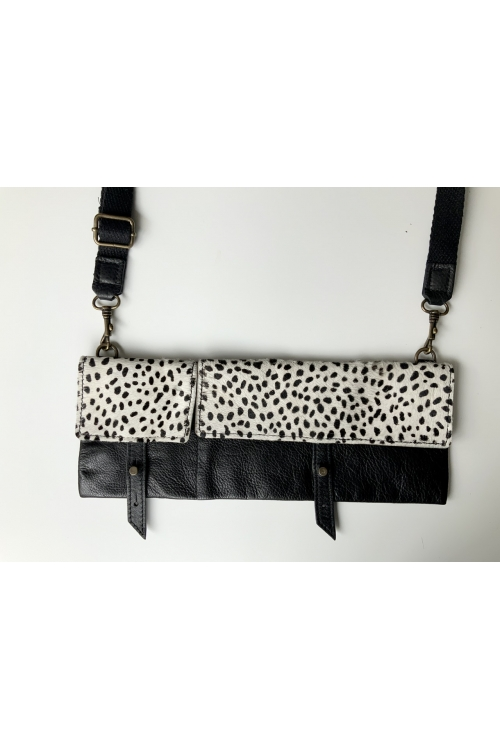 TWIN PACK LOOP BAG IN BLACK WITH LEOPARD PRINT PONYSKIN FLAP