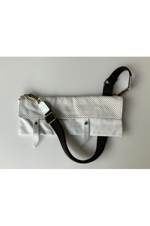 TWIN PACK LOOP BAG IN PERFORATED WHITE LEATHER