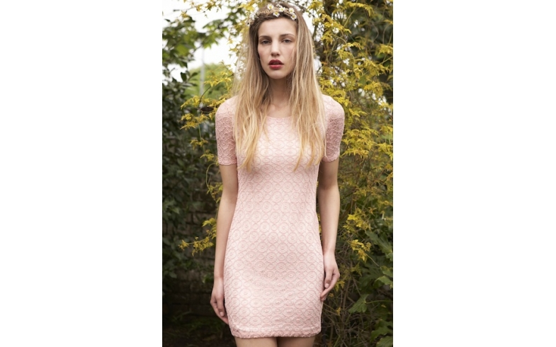 PINK WHEEL LACE DRESS
